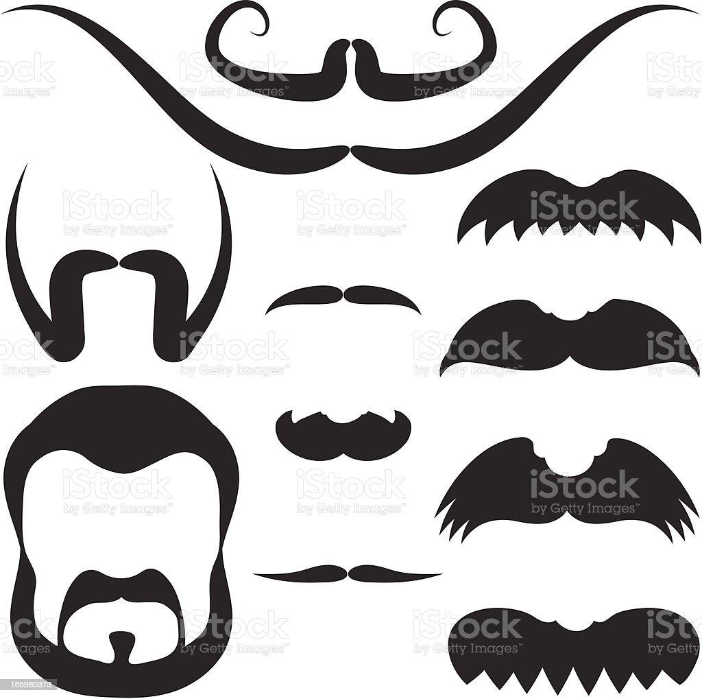 mustache set royalty-free stock vector art