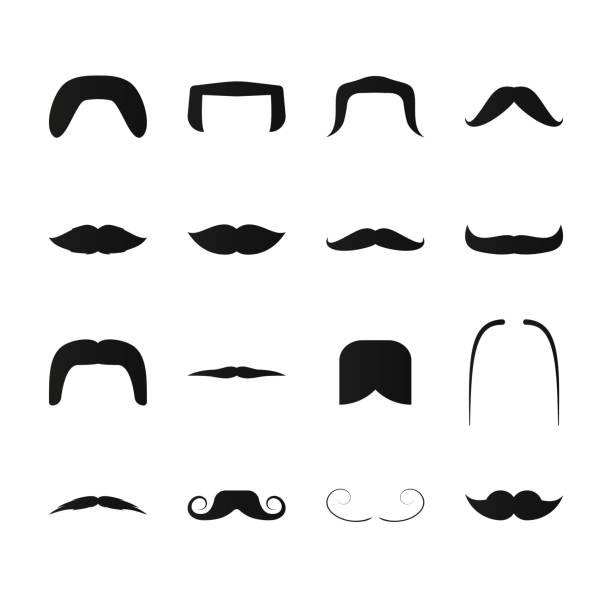 ilustrações, clipart, desenhos animados e ícones de ícones de preto simples bigode. conjunto de estilo retrô e moderno de pelos faciais. - bigode