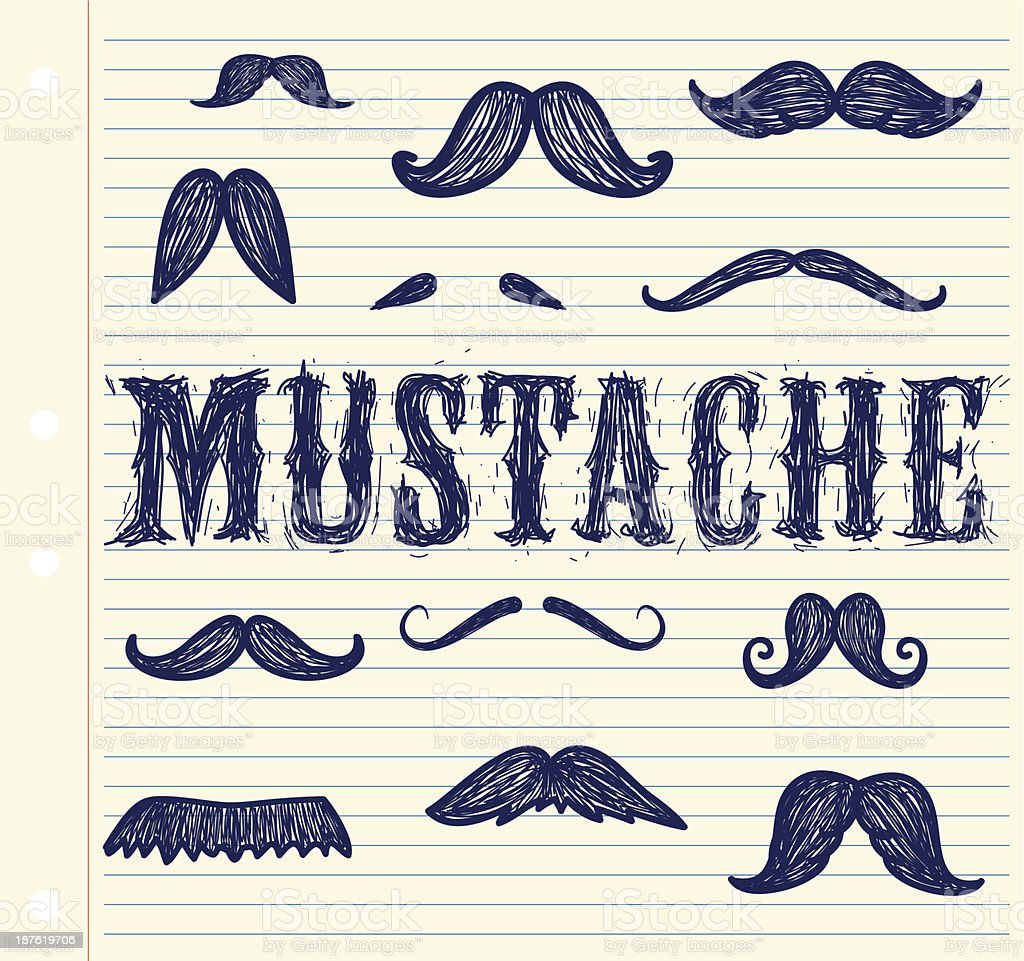 Mustache vector art illustration