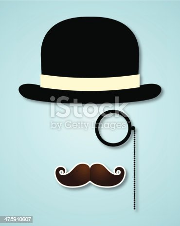 an editable vector file with hat, mustache and monocle as silhouette