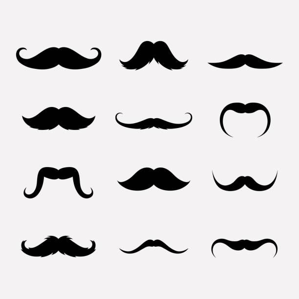 mustache vector set - old man mask stock illustrations, clip art, cartoons, & icons