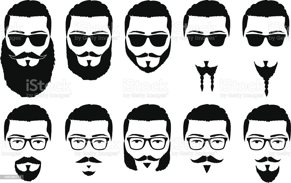 mustaches and beards vector art illustration