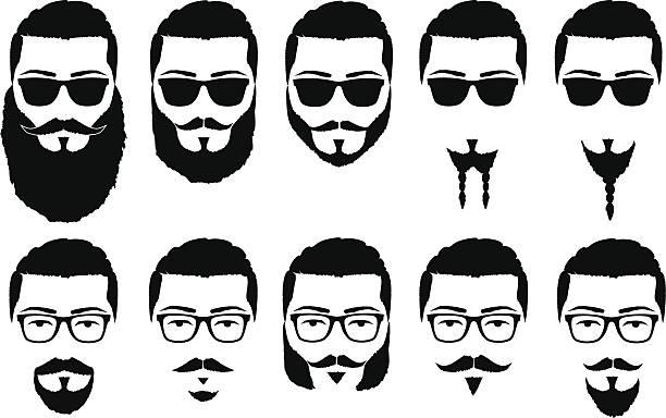 mustaches und bärte - mann bart freisteller stock-grafiken, -clipart, -cartoons und -symbole