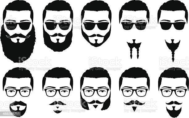 vector illustration silhouette mustache and beard