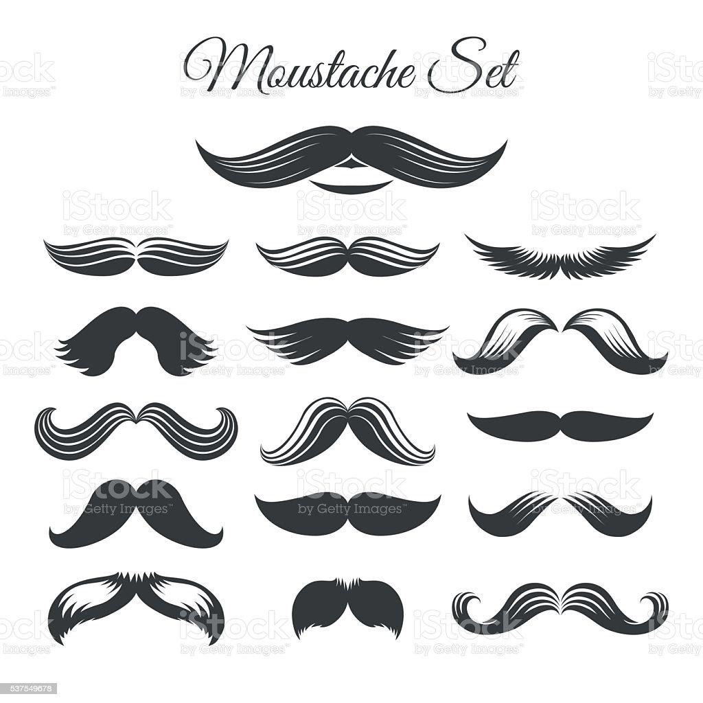 Mustaches icon set vector art illustration