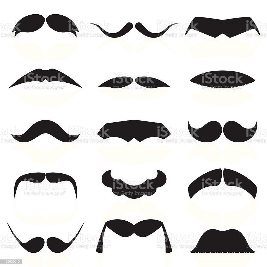 Mustaches Set 01 vector art illustration