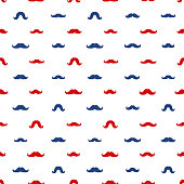 Mustaches Vector Seamless Pattern. November Holiday Wrapping.