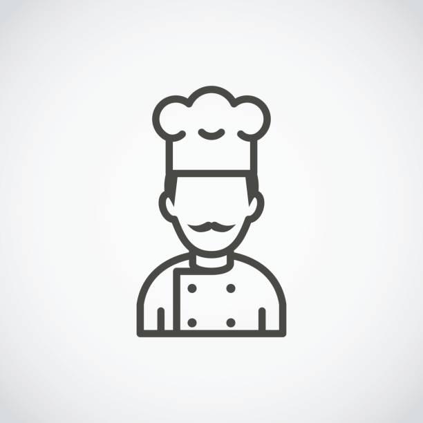 mustachioed chef icon. cook avatar profile - chef stock illustrations