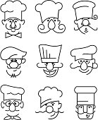 monochrome illustration of nine mustachioed chefs