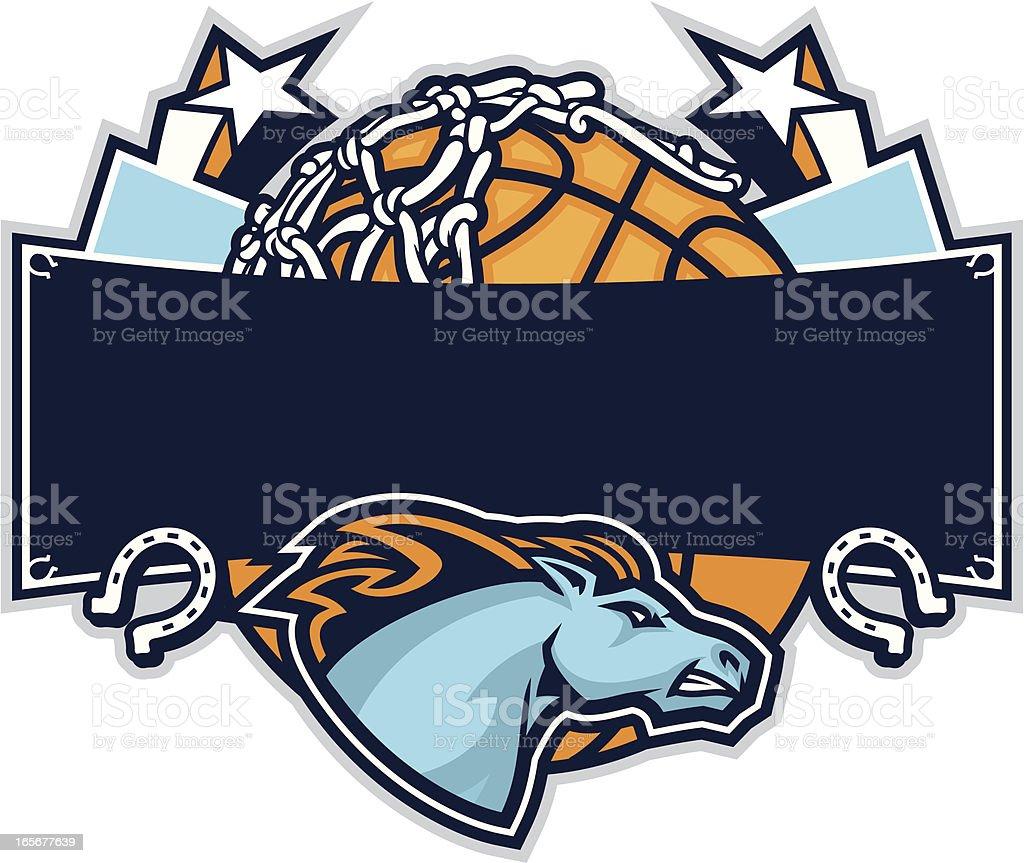 Mustang Basketball Design vector art illustration
