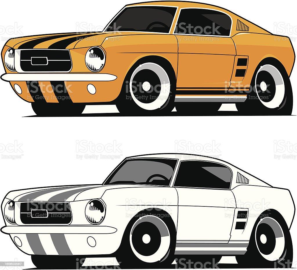 Mustang Fastback 1967 vector art illustration
