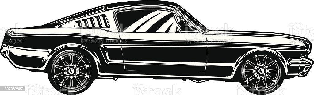 Mustang Fastback- 1967 vector art illustration