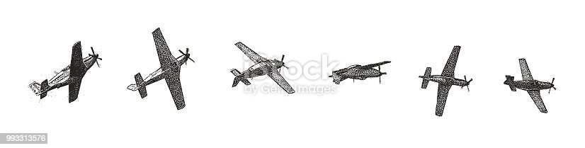 stipple illustration of a vintage World War II P51 Mustang Fighter Plane doing a roll maneuver