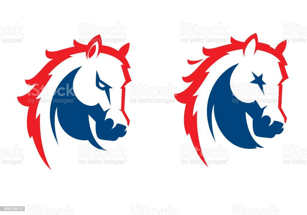 Mustang head sport mascot vector art illustration