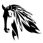 mustang horse head with indian feathers vector