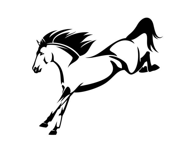 mustang-pferd springt vektorumrisse hinunter - mustangs stock-grafiken, -clipart, -cartoons und -symbole
