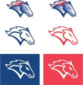 A team sports-style insignia of a mustang, stallion, and/or horse.
