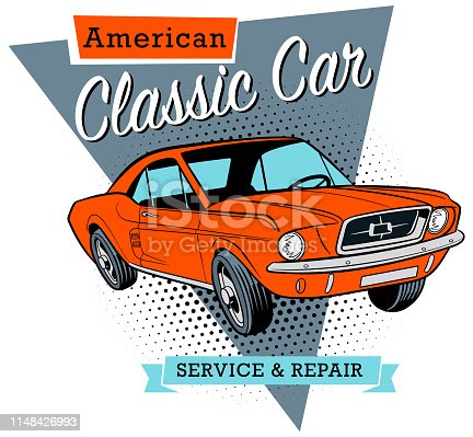 Classic American car banner in vector