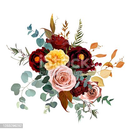 Mustard yellow and dusty pink rose, burgundy red dahlia, emerald green and teal blue eucalyptus, orange autumn leaves, greenery vector design bouquet. Chic fall wedding flowers. Isolated and editable