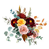 istock Mustard yellow and dusty pink rose, burgundy red dahlia, emerald green and teal blue eucalyptus 1253296252