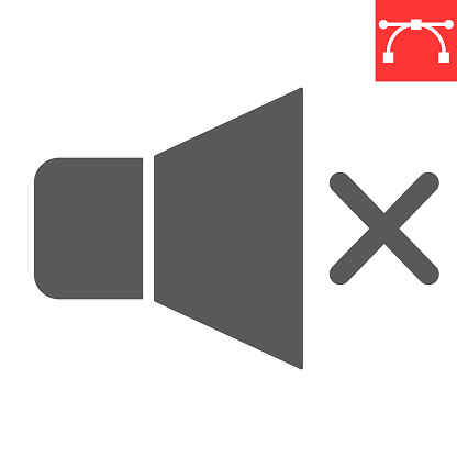 Mute glyph icon, ui and button, silent sign vector graphics, editable stroke solid icon, eps 10.