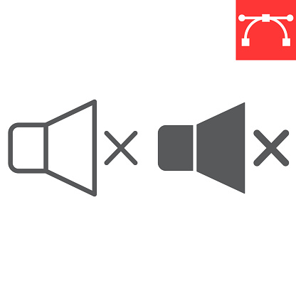 Mute line and glyph icon, ui and button, silent sign vector graphics, editable stroke linear icon, eps 10.