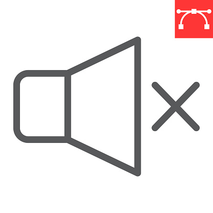 Mute line icon, ui and button, silent sign vector graphics, editable stroke linear icon, eps 10.