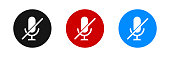 Mute microphone vector icon set. Flat audio mic symbol on white background.