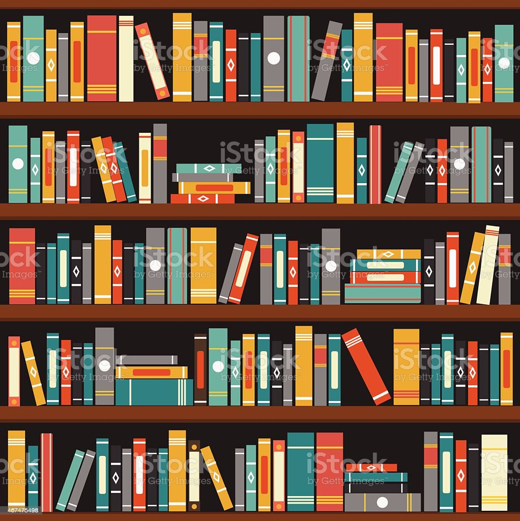 Bookshelf With Books ~ Muted tone vector illustration of generic books on