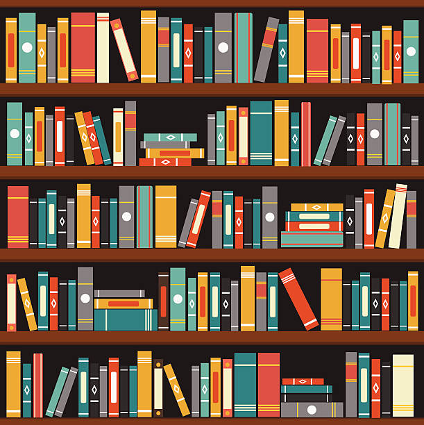 Muted tone vector illustration of generic books on bookshelf vector art illustration