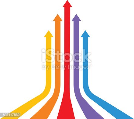 Vector illustration of five multi colored curved direction arrows.