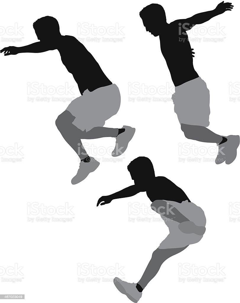 Mutiple images of a man jumping royalty-free stock vector art