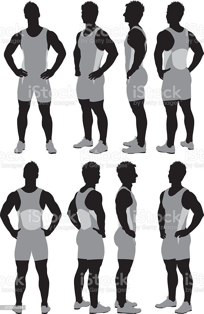 Mutiple images of an athlete royalty-free stock vector art