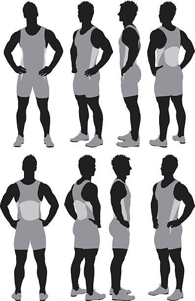 illustrazioni stock, clip art, cartoni animati e icone di tendenza di mutiple immagini di un atleta - ritratto 360 gradi