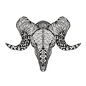 Mutton sheep skull. Animals. Hand drawn doodle. Ethnic patterned vector illustration. Sketch for avatar, posters, prints or t-shirt.