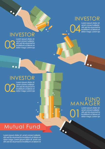 Mutual fund infographic concept Mutual fund infographic concept. Business concept millionnaire stock illustrations