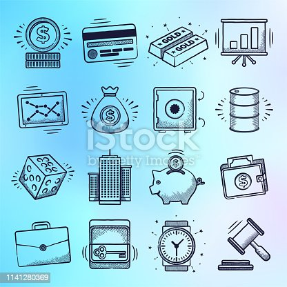 Mutual funds and secondary market doodle style outline symbols on holographic gradient background. Vector icons set for infographics, mobile or web page designs.