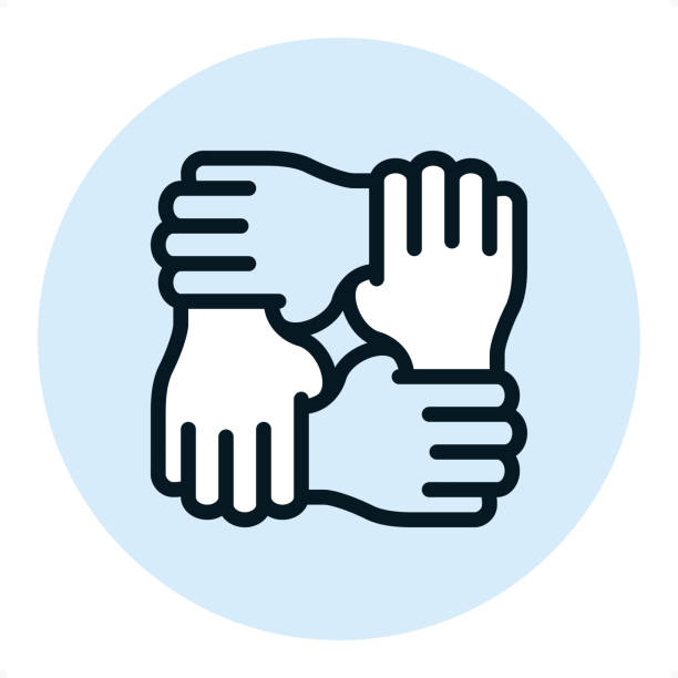 Mutual support - Pixel Perfect Single Line Icon Four hands holdings one after another / Mutual support / Professional outline style vector icon / Pixel Perfect Principle - icon designed in 64x64 pixel grid, outline stroke 2 px. Blue circle 80x80 px.  Complete Outline PRO icon board - https://www.istockphoto.com/collaboration/boards/r3MrrRaQskC97xh5LR9hsg four people stock illustrations