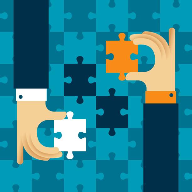 für beide seiten vorteilhafte zusammenarbeit vektor konzept mit puzzle im flachen stil - schlüsselfertig stock-grafiken, -clipart, -cartoons und -symbole