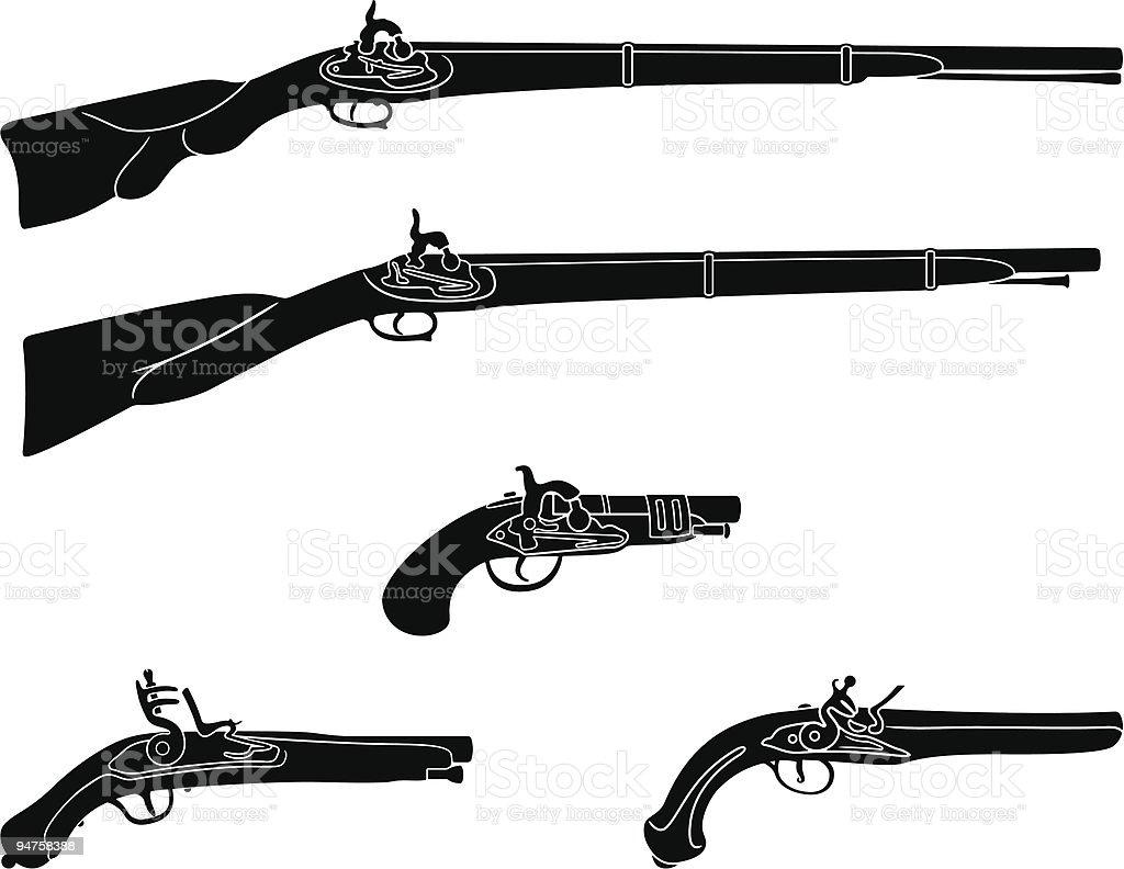 Muzzle loading firearms vector art illustration