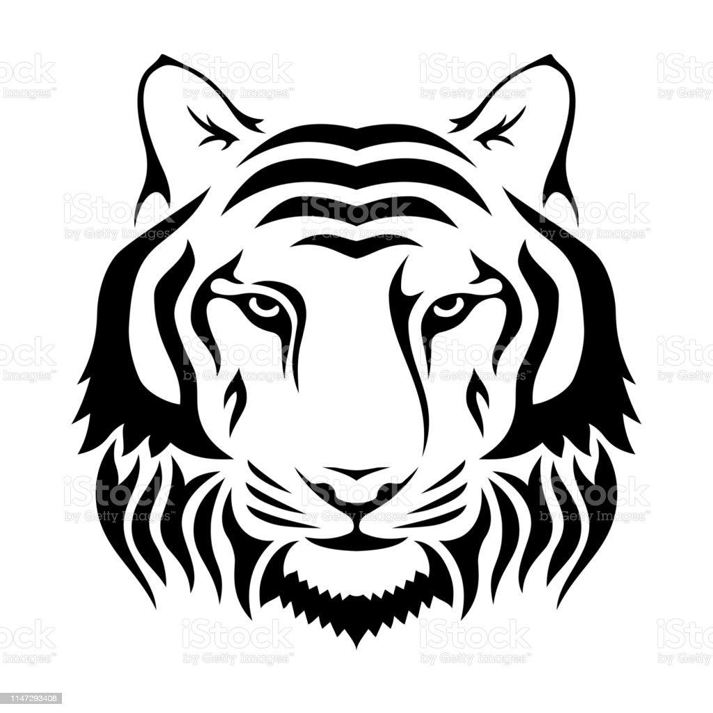 Açaime de um tigre isolado no fundo do Wgite. Silhueta principal do tigre. Logotipo, molde do emblema. - Vetor de Abstrato royalty-free