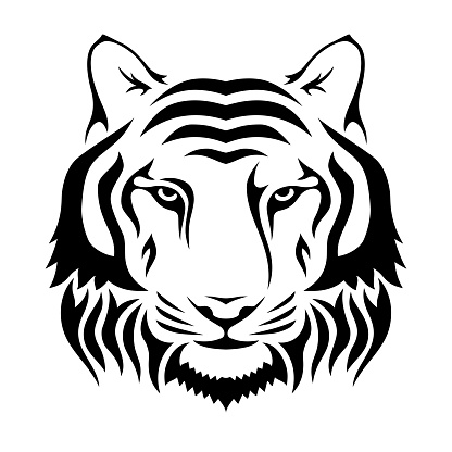 Muzzle of a tiger isolated on wgite background. Tiger's head silhouette. Logo, emblem template.