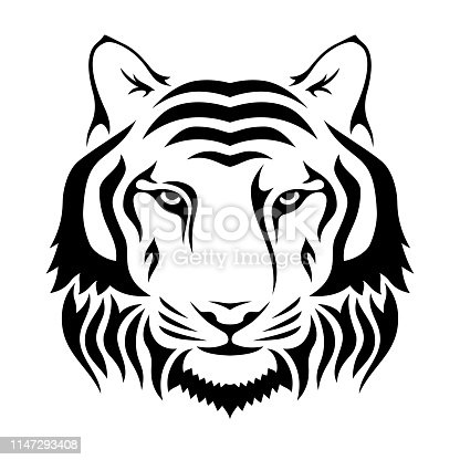 Muzzle of a tiger isolated on wgite background. Tiger's head silhouette. Logo, emblem template. Symbol for business or shirt design. Vector monochrome illustration.