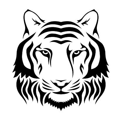 Vetores de Açaime De Um Tigre Isolado No Fundo Do Wgite Silhueta Principal Do Tigre Logotipo Molde Do Emblema e mais imagens de Abstrato