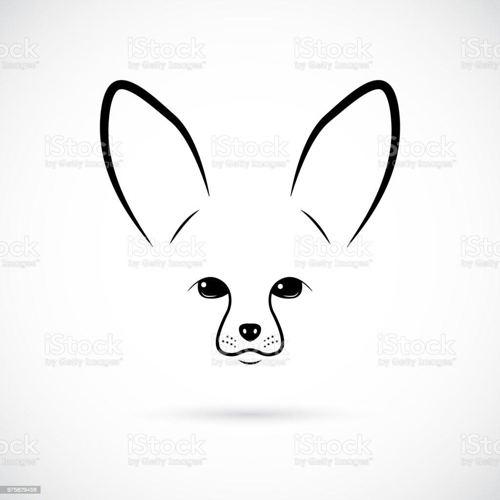 Fang der niedlichen Fennec auf weißem Hintergrund. Strichzeichnungen. Minimalistische Symbol für Ihr Design. - Lizenzfrei Afrika Vektorgrafik