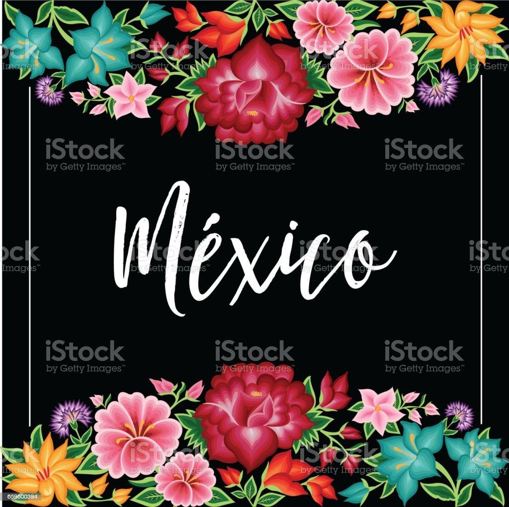 México Floral Composition – Copy Space vector art illustration