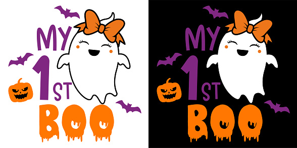 """My 1st Boo with cute ghost - Halloween hand drawn lettering quoteon t-shirt design, greeting card or poster design Background Vector Illustration.""""n"""