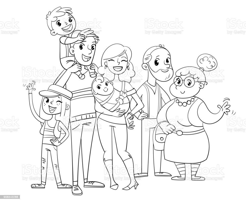 Ma Grande Famille Posant Ensemble Livre De Coloriage Vecteurs libres de  droits et plus d'images vectorielles de Adulte