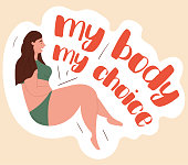 My Body My Choice concept with an overweight young woman in a bikini sunbathing in summer, colored vector illustration