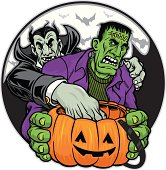 Dracula trying to steal some of Frankensteins candy. The characters are created separately from the background. The candy handle is easily removed.